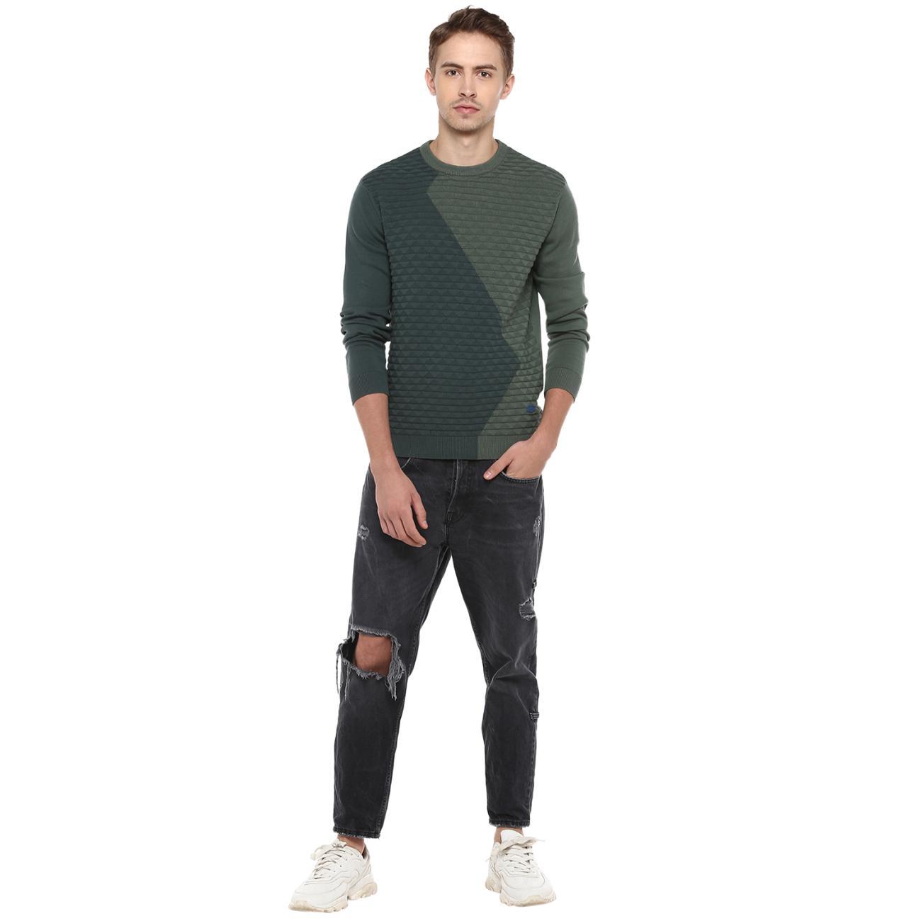 Online Green Colourblocked Sweater for Men