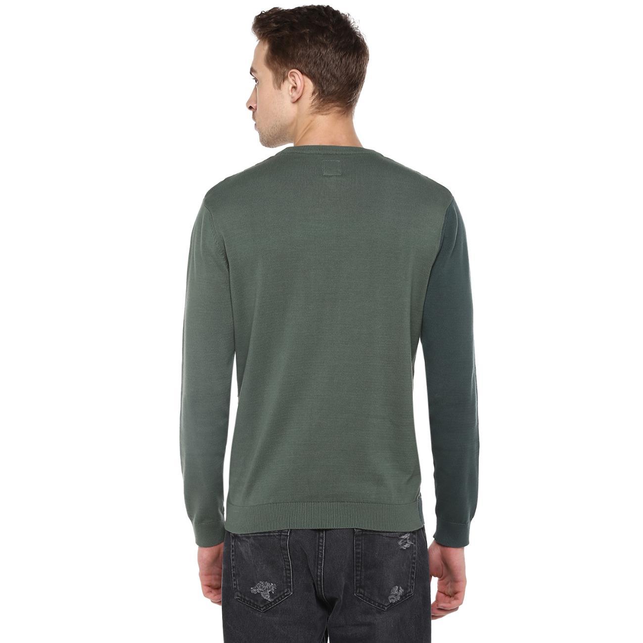 Shop Men's Green Colourblocked Sweater