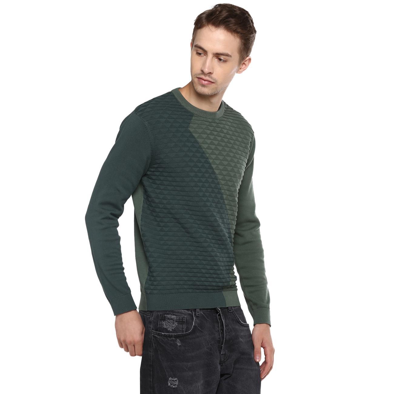 Shop Online Green Colourblocked Sweater for Men