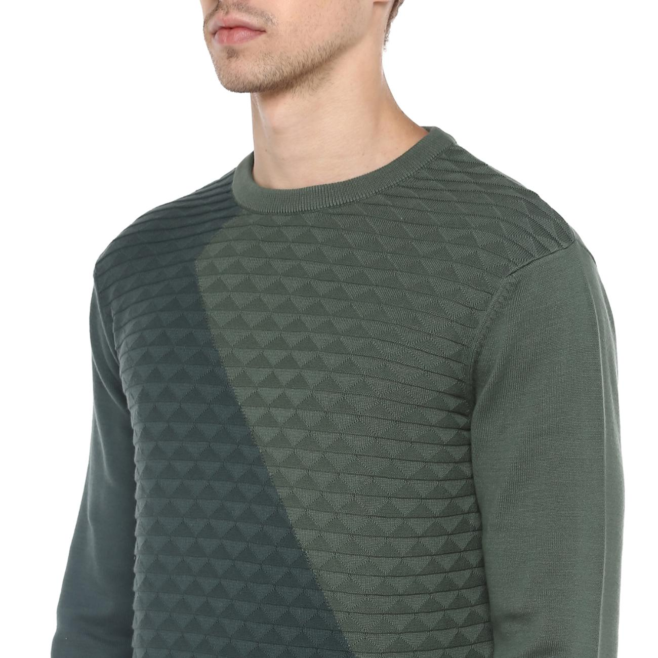 Buy Green Colourblocked Sweater Online