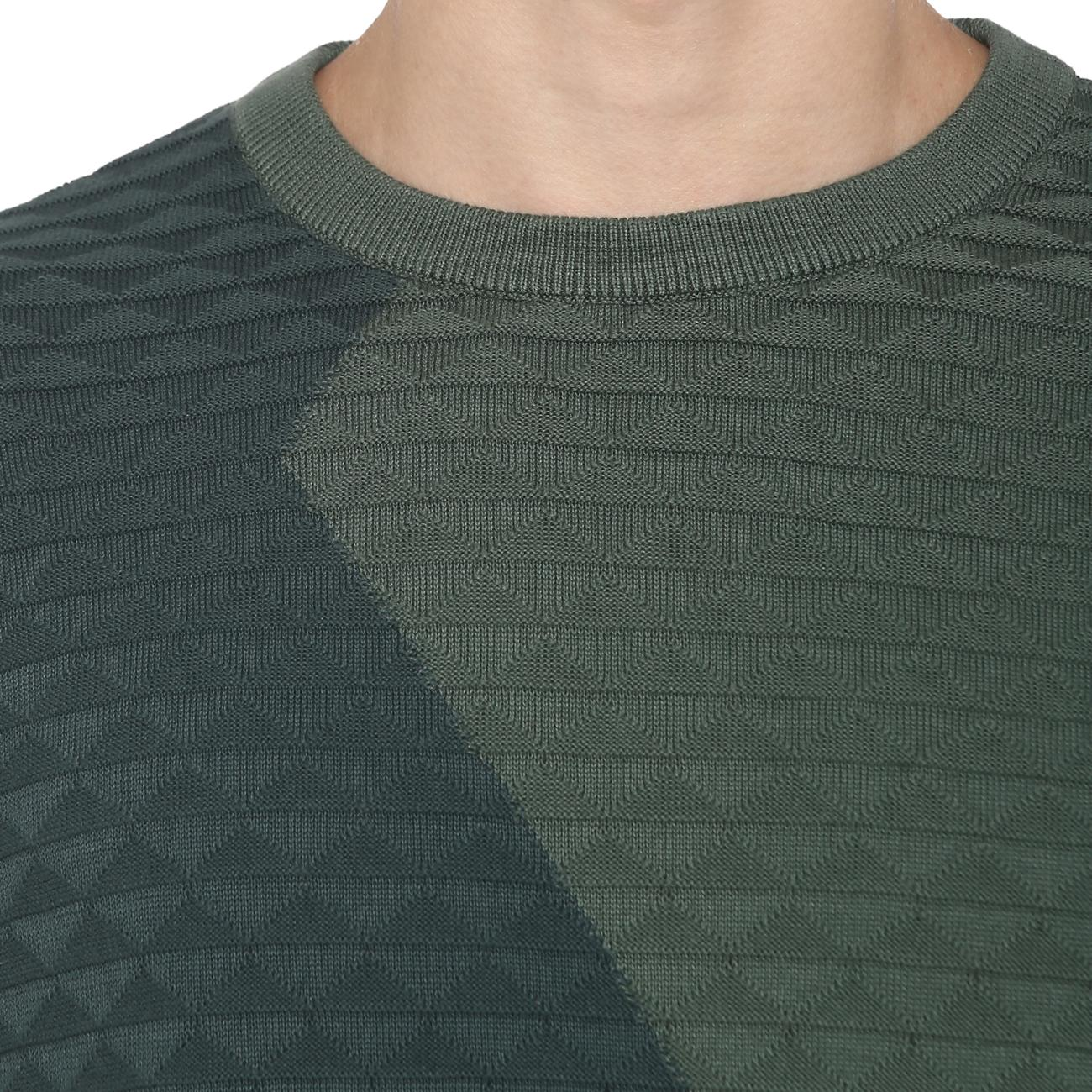 Green Colourblocked Sweater Online at Red Chief