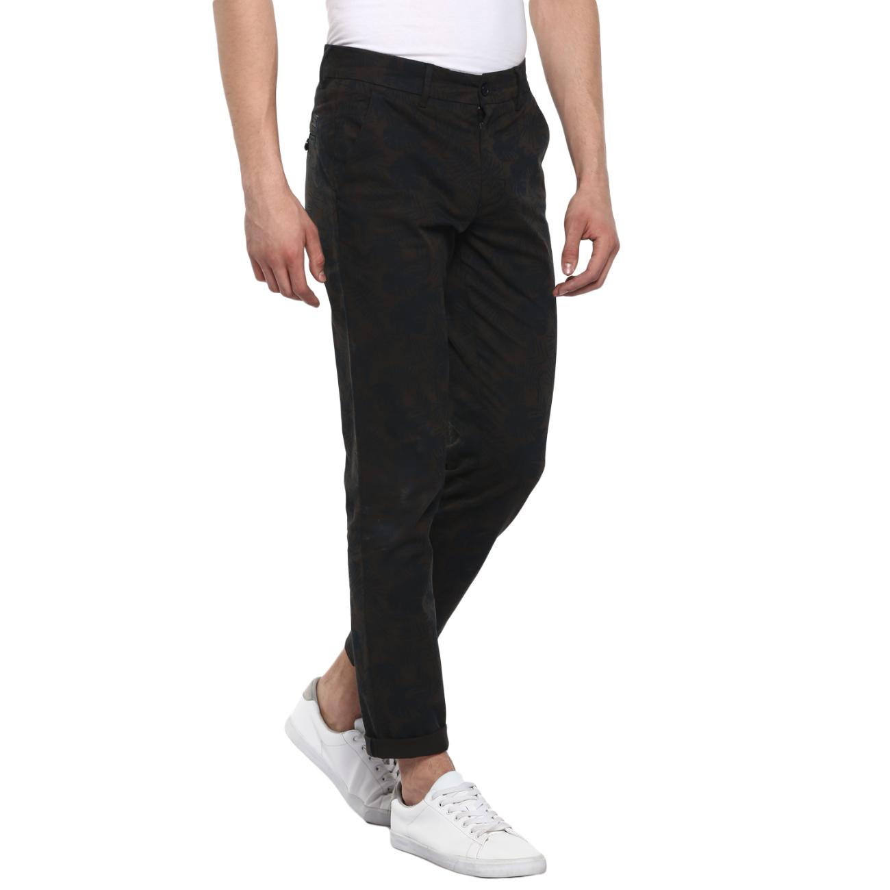 Buy Olive/Black Trouser for Men