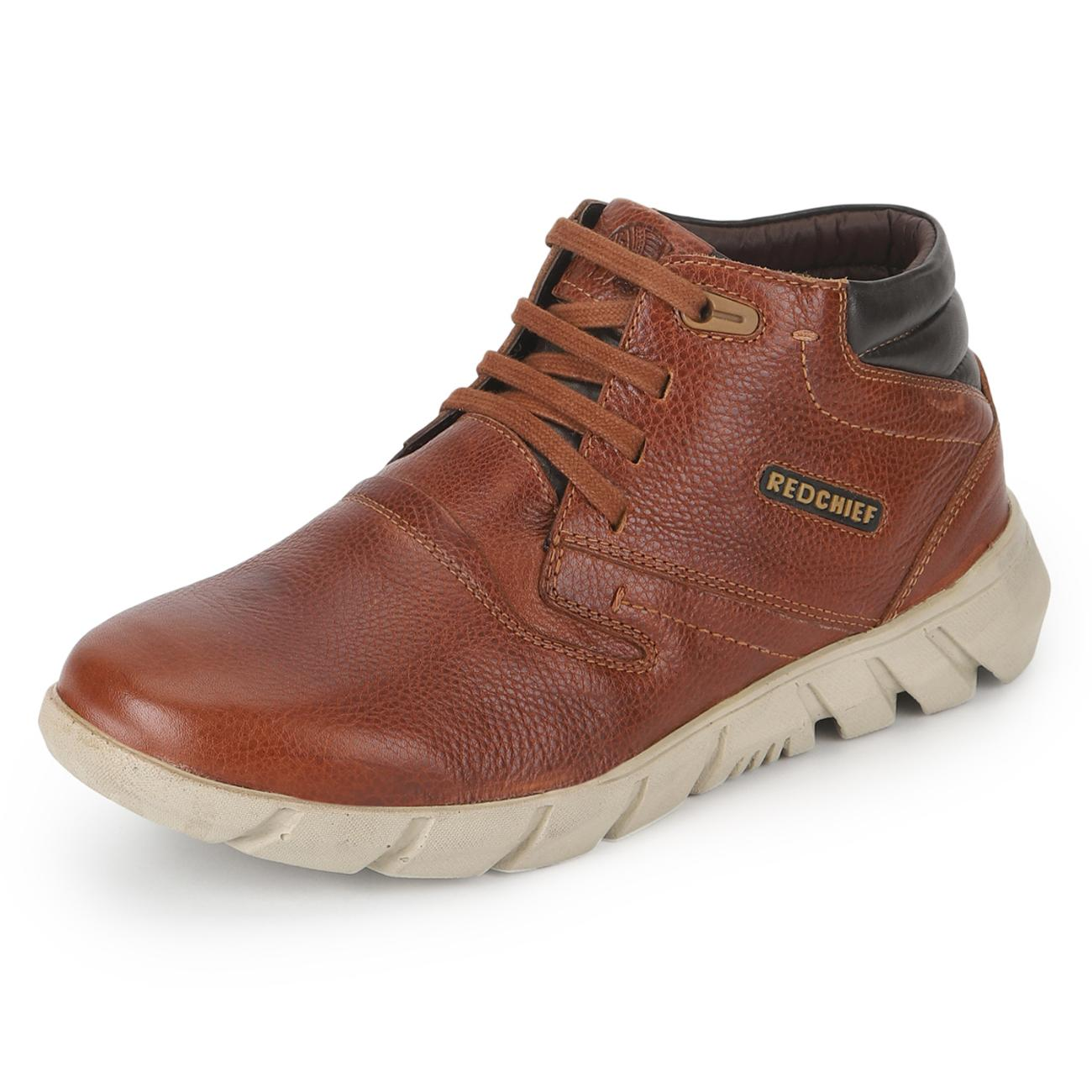 tan casual derby shoes from behind