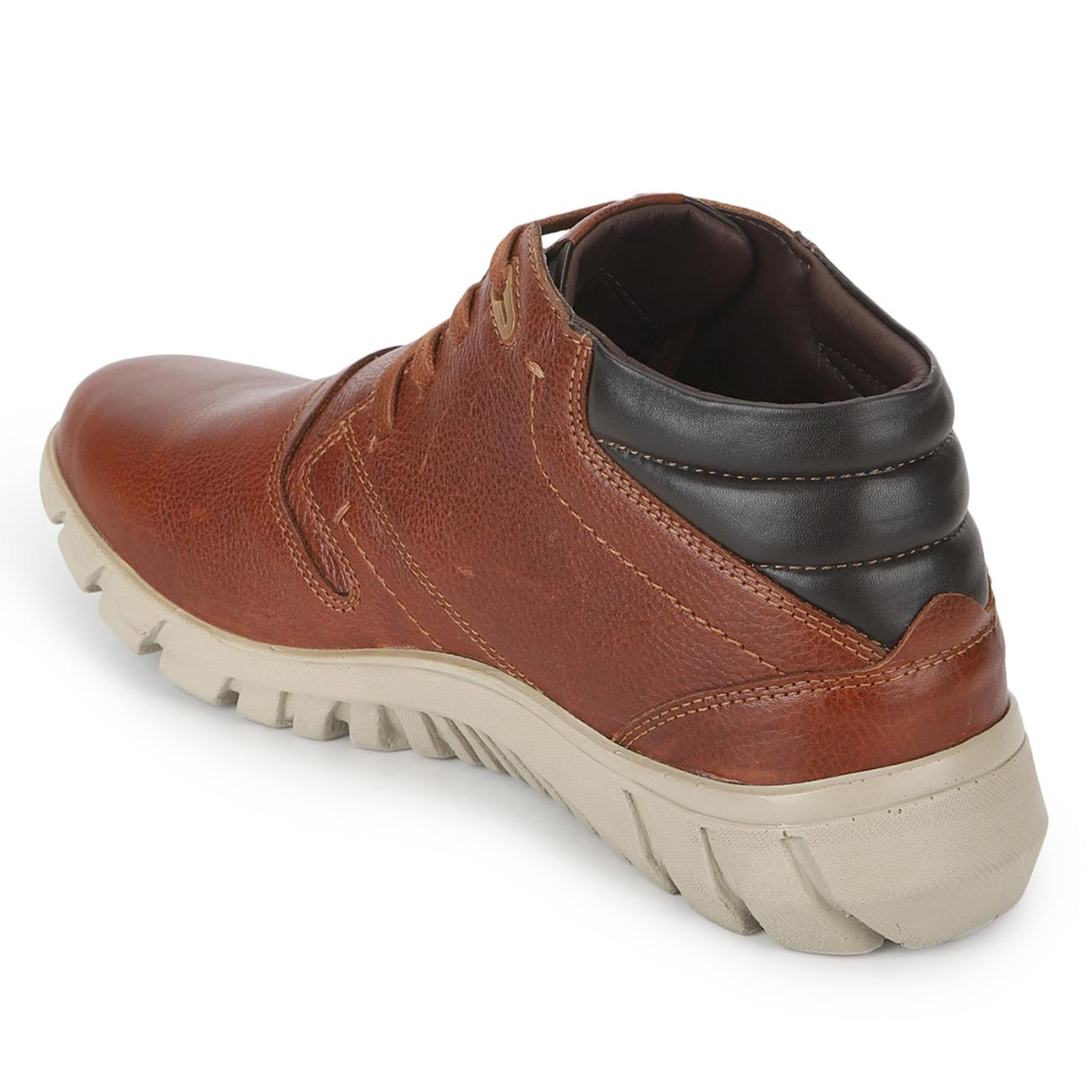 tan casual derby shoes top view