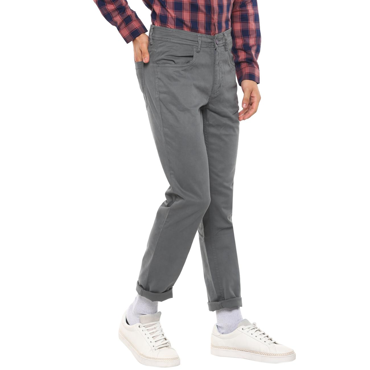 Buy Red Chief Gray Casual Trousers