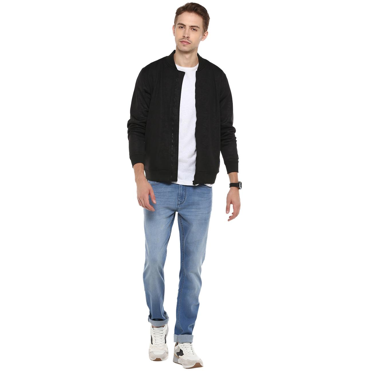 Shop Black Zipper Bomber Jacket Online