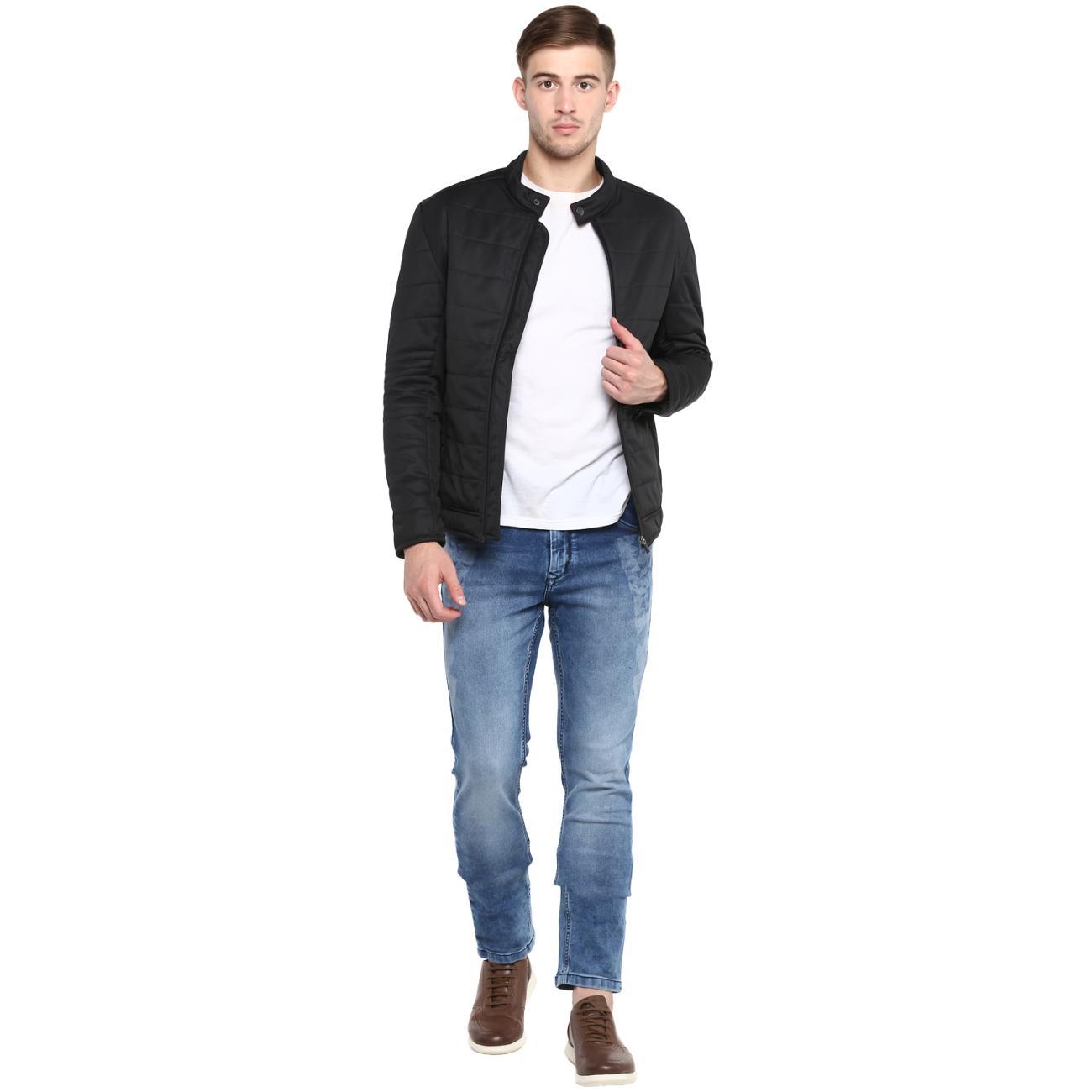 Black Quilted Biker Jacket For Men