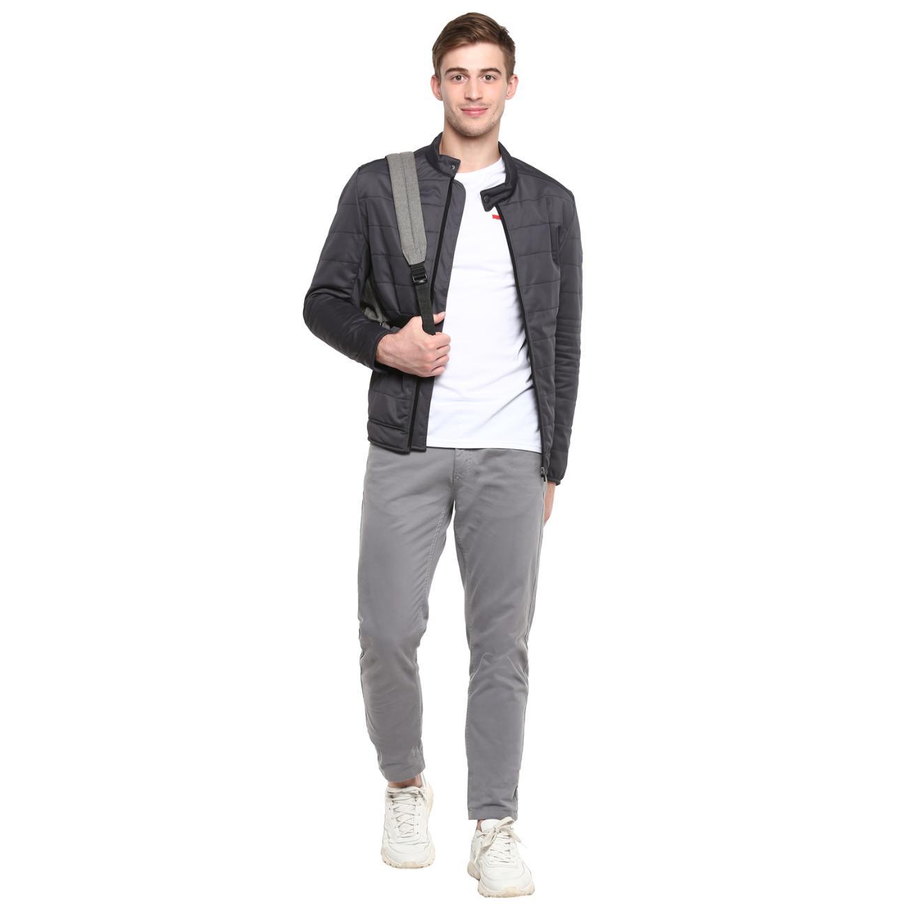 Buy Dark Grey Biker Jacket for Men