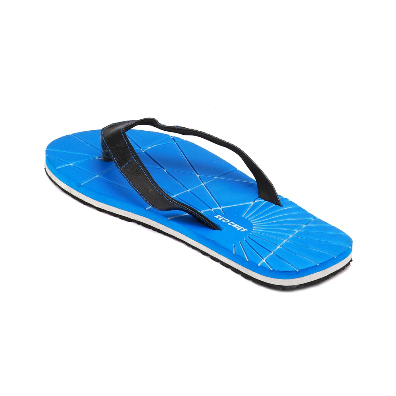 blue men's flip flop from behind