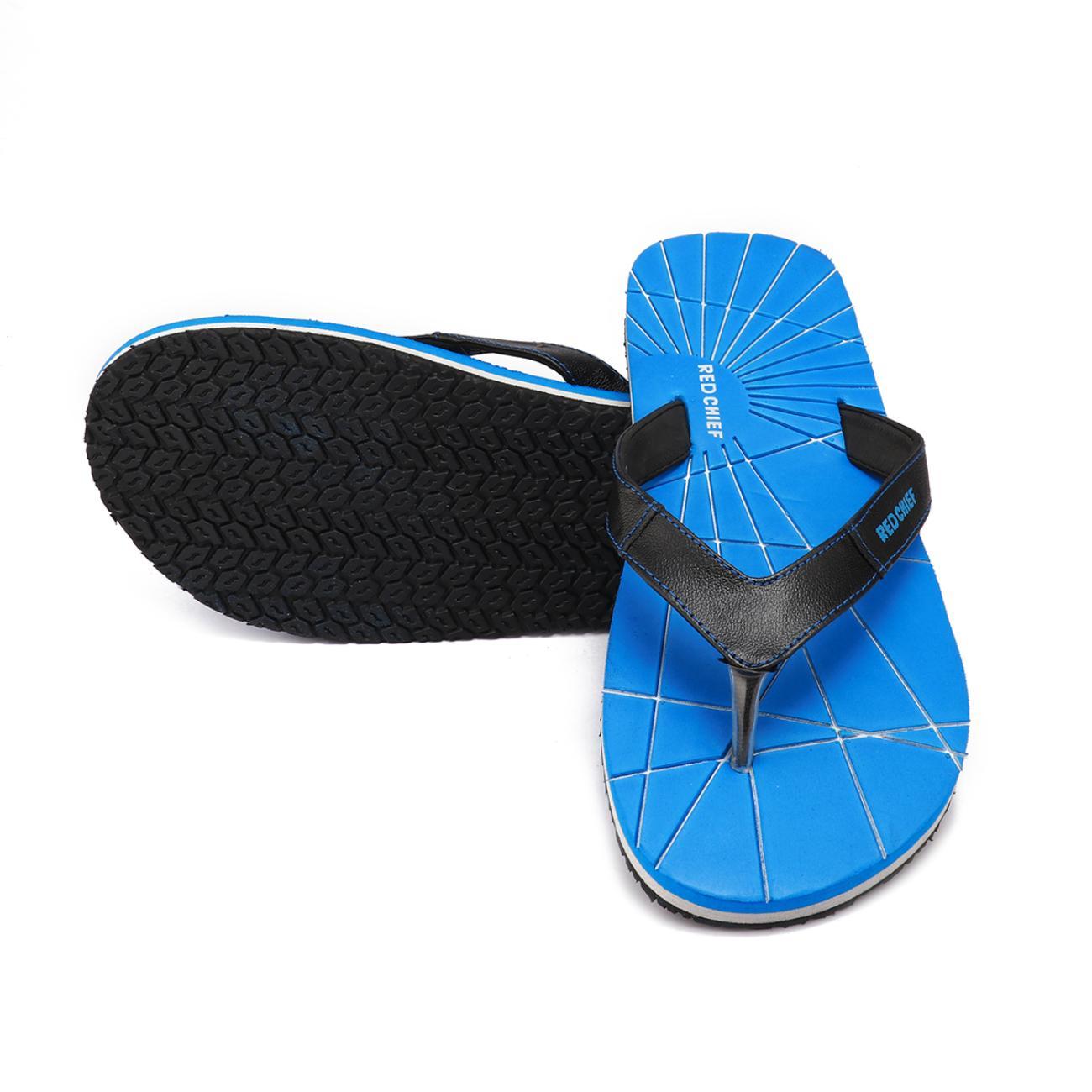 blue men's flip flop top view