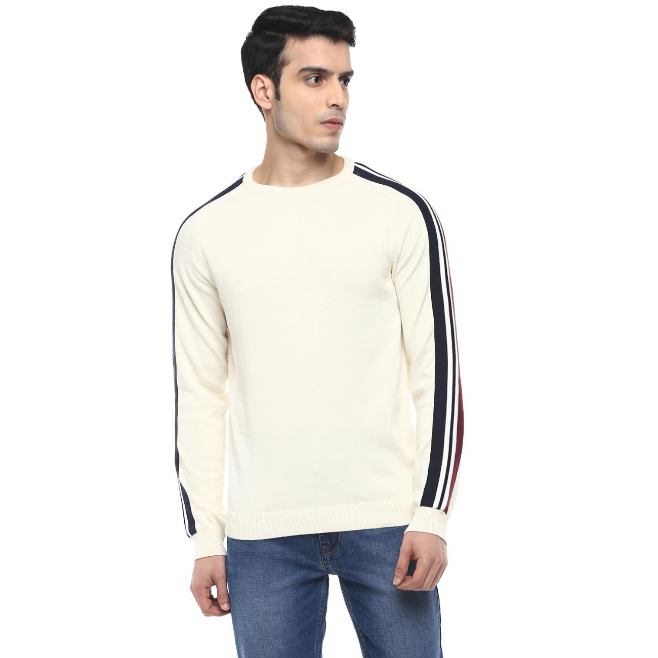 Buy Off-white Casual Sweater Round Neck
