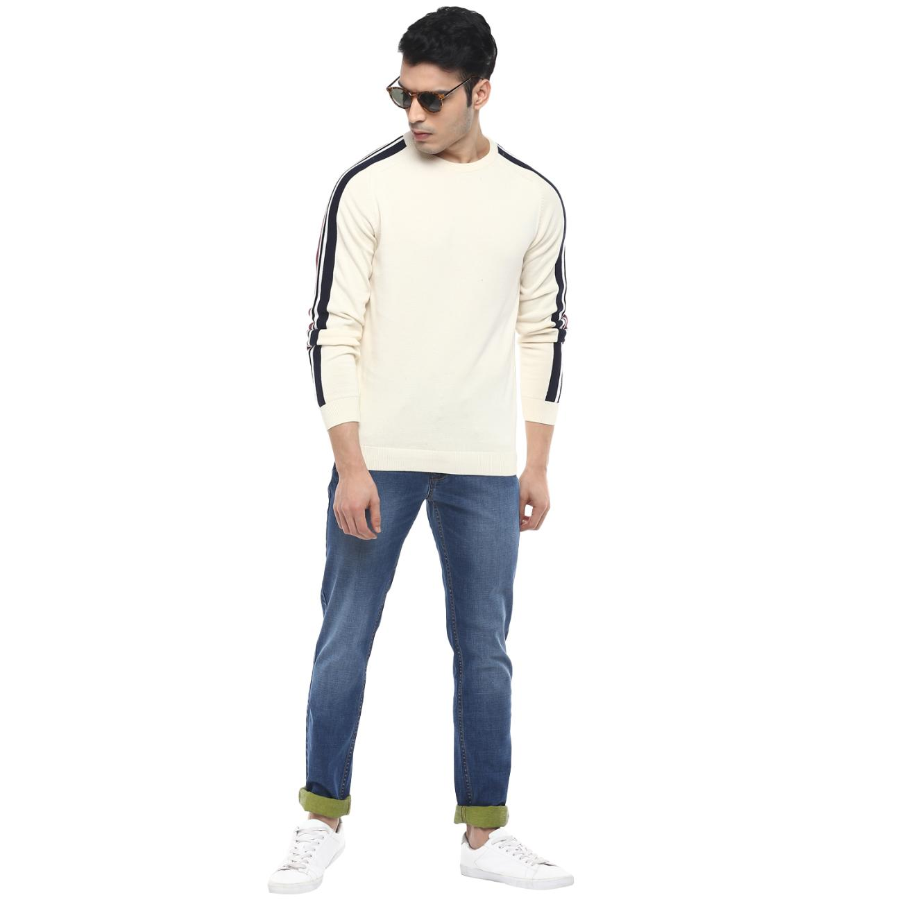 Red Chief's Round Neck Off-white Casual Sweater