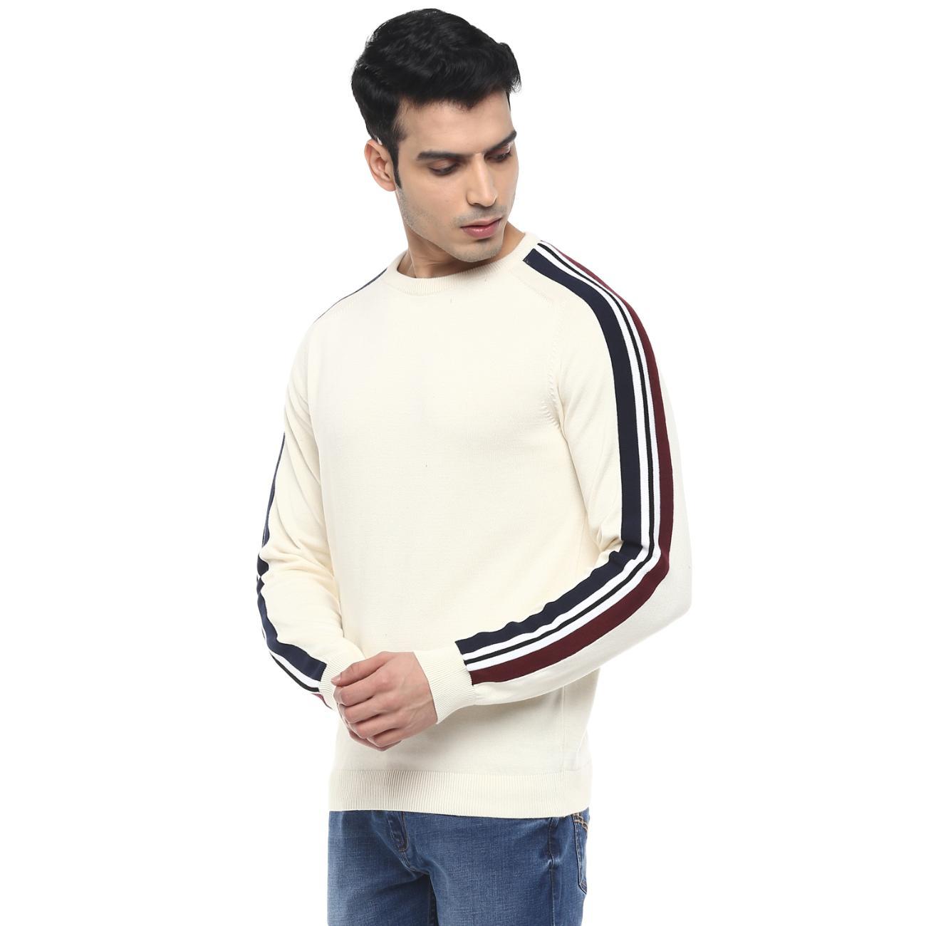 Men's Round Neck Off-white Casual Sweater