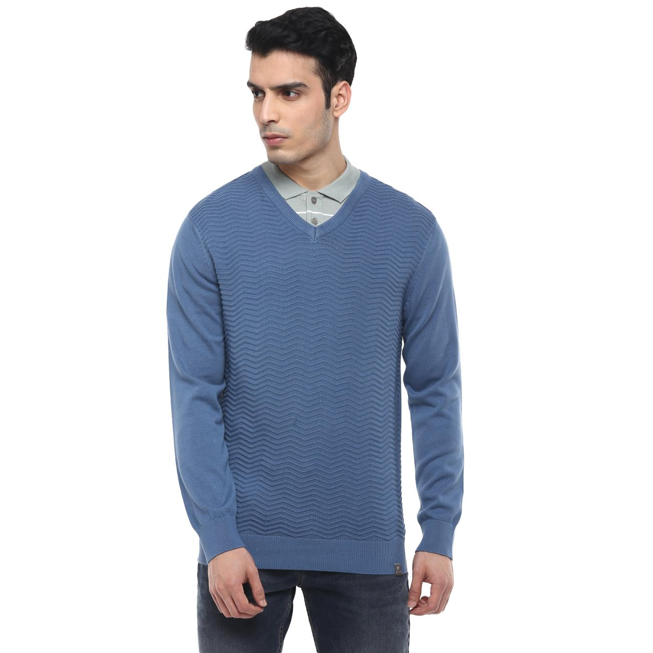 Buy Blue Casual Sweater V-neck