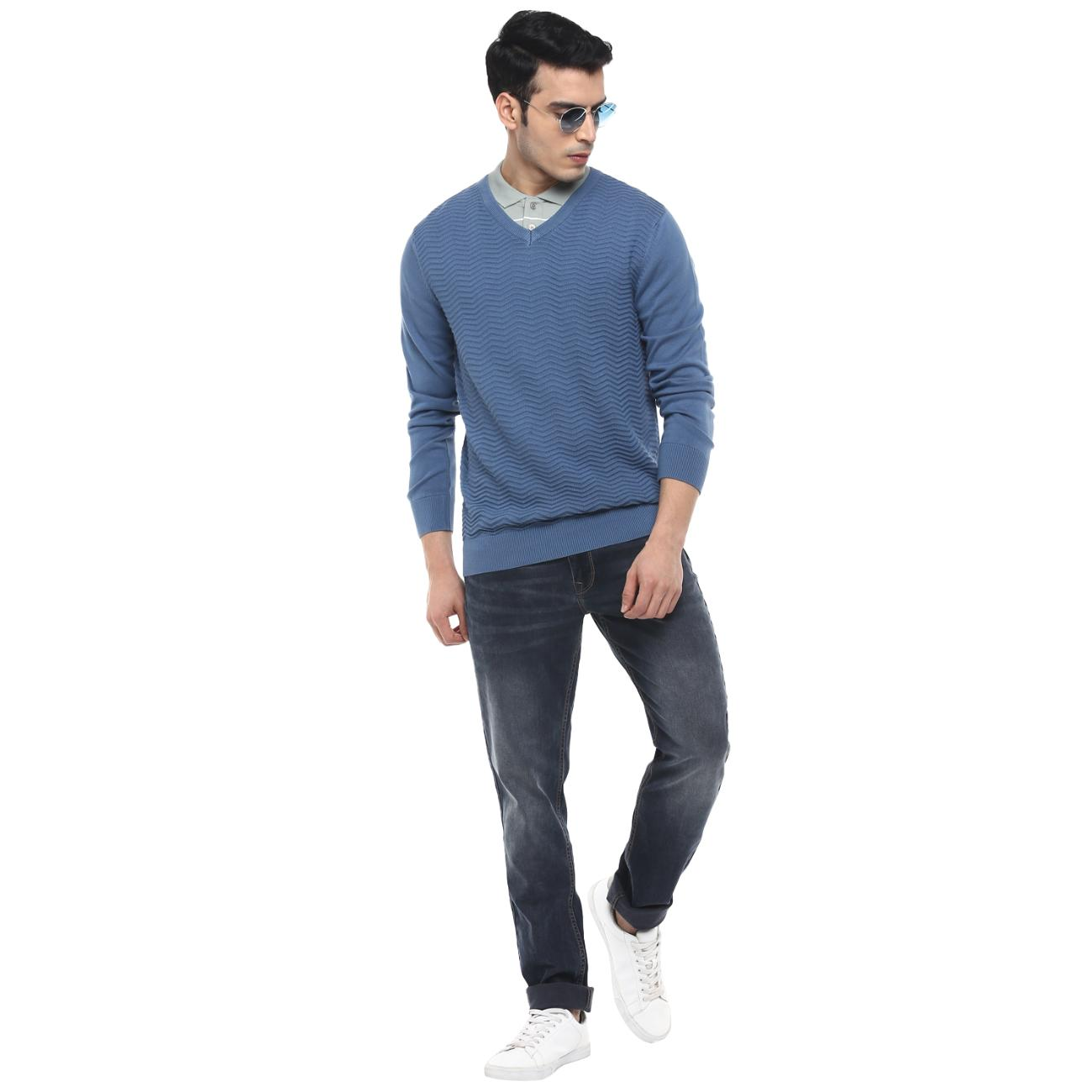 Buy Online Blue Casual Sweater
