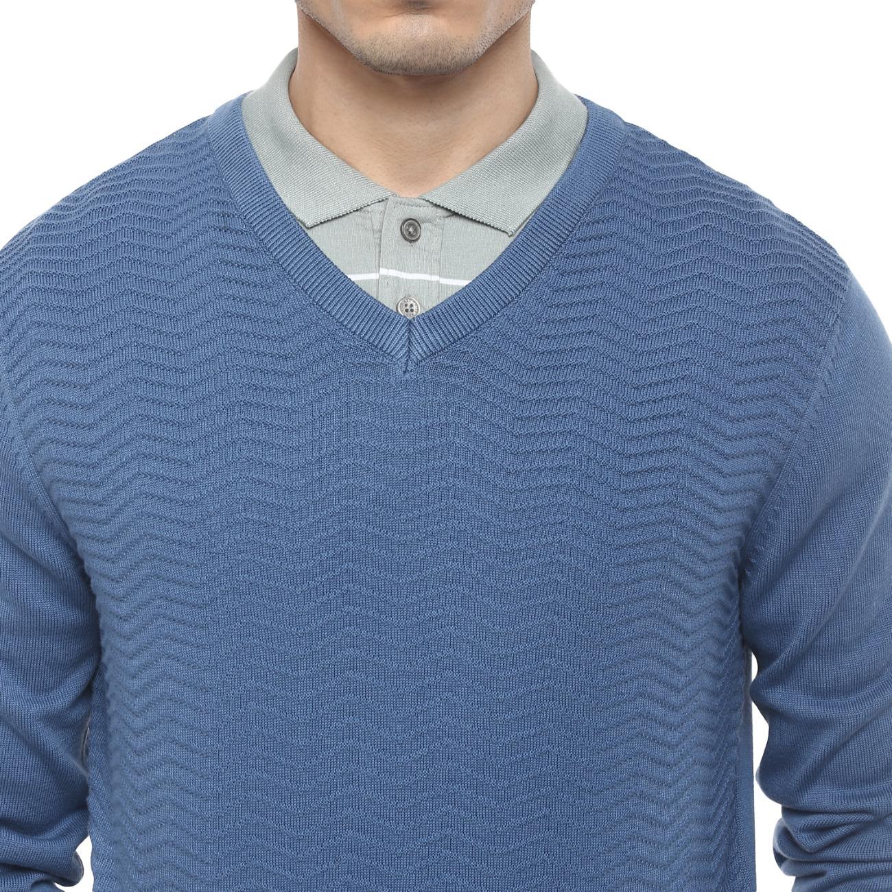 Buy Online Men's V-neck Blue Casual Sweater