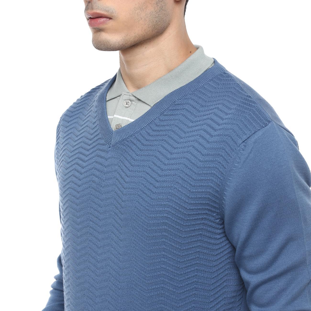 Buy Blue Casual Sweater V-neck for Men