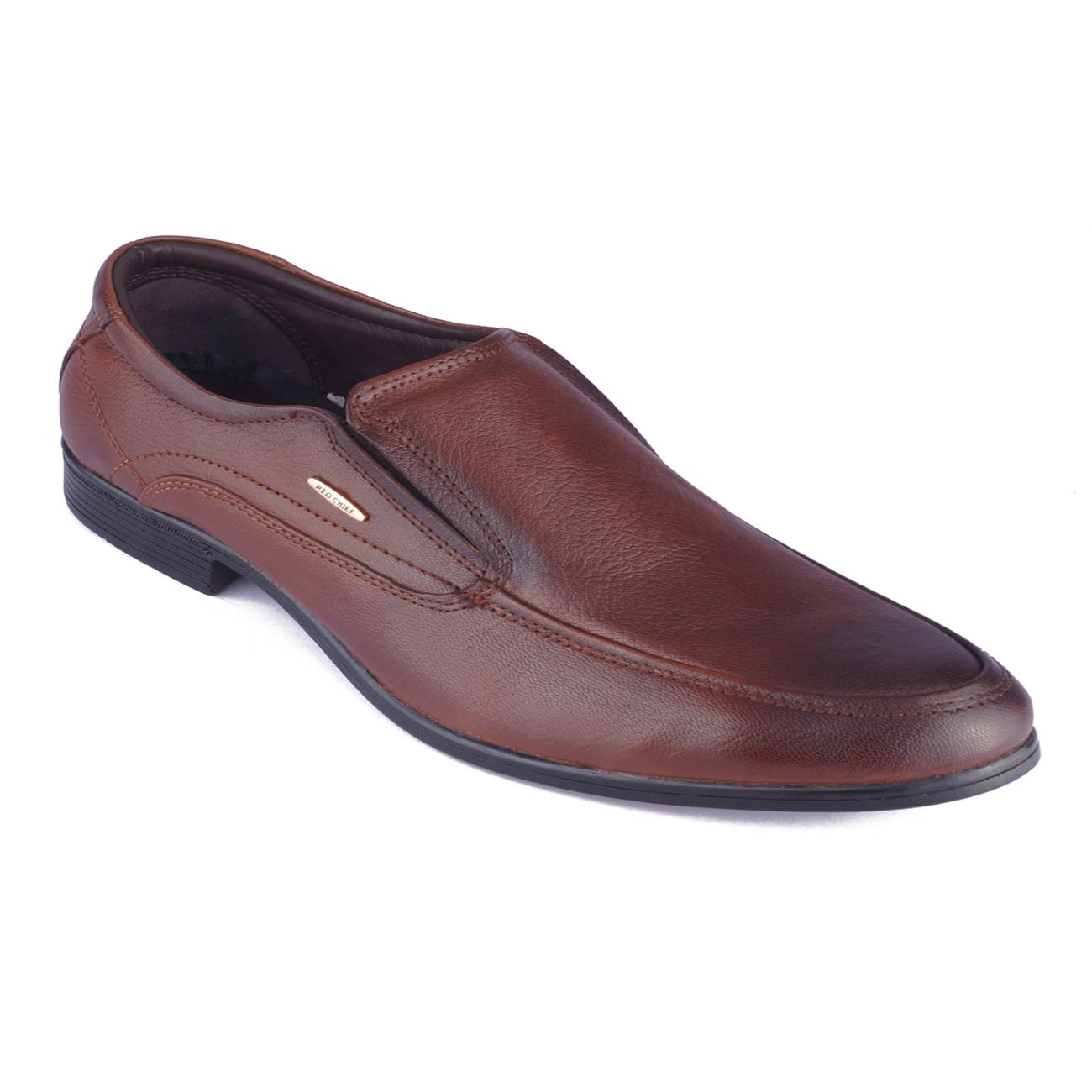 tan leather slip-on formal shoes online
