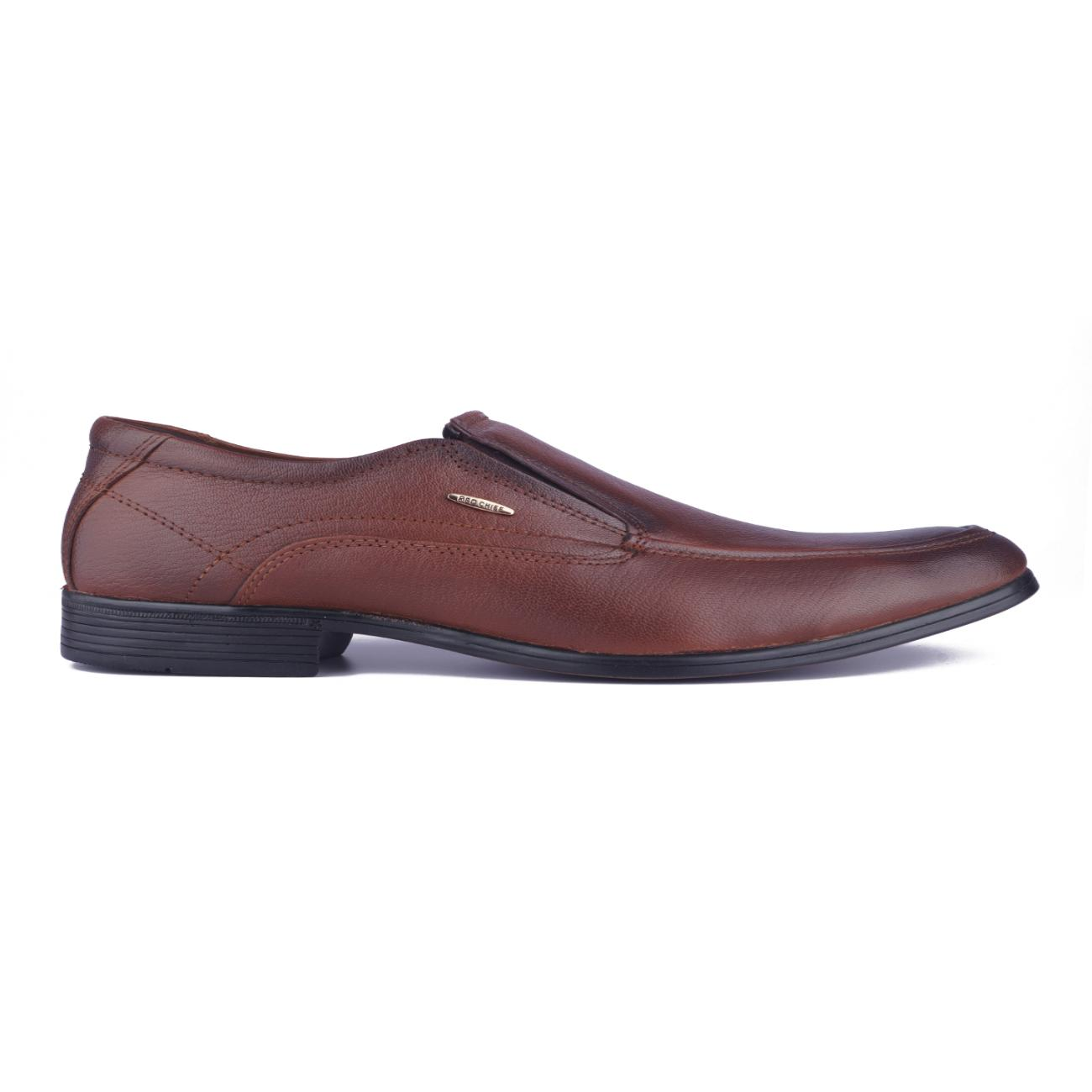 buy tan leather slip-on formal shoes side view_1