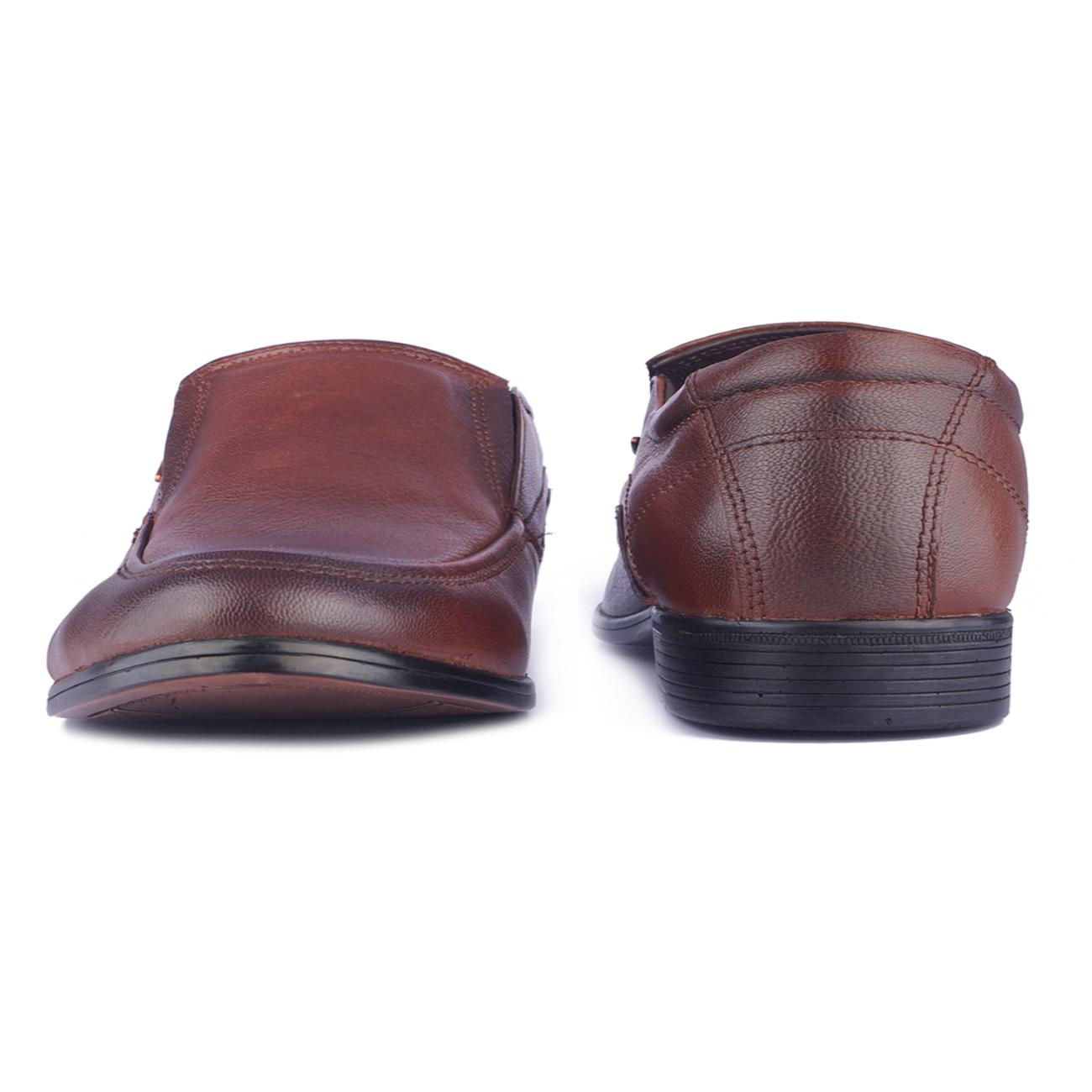 tan leather slip-on formal shoes from behind