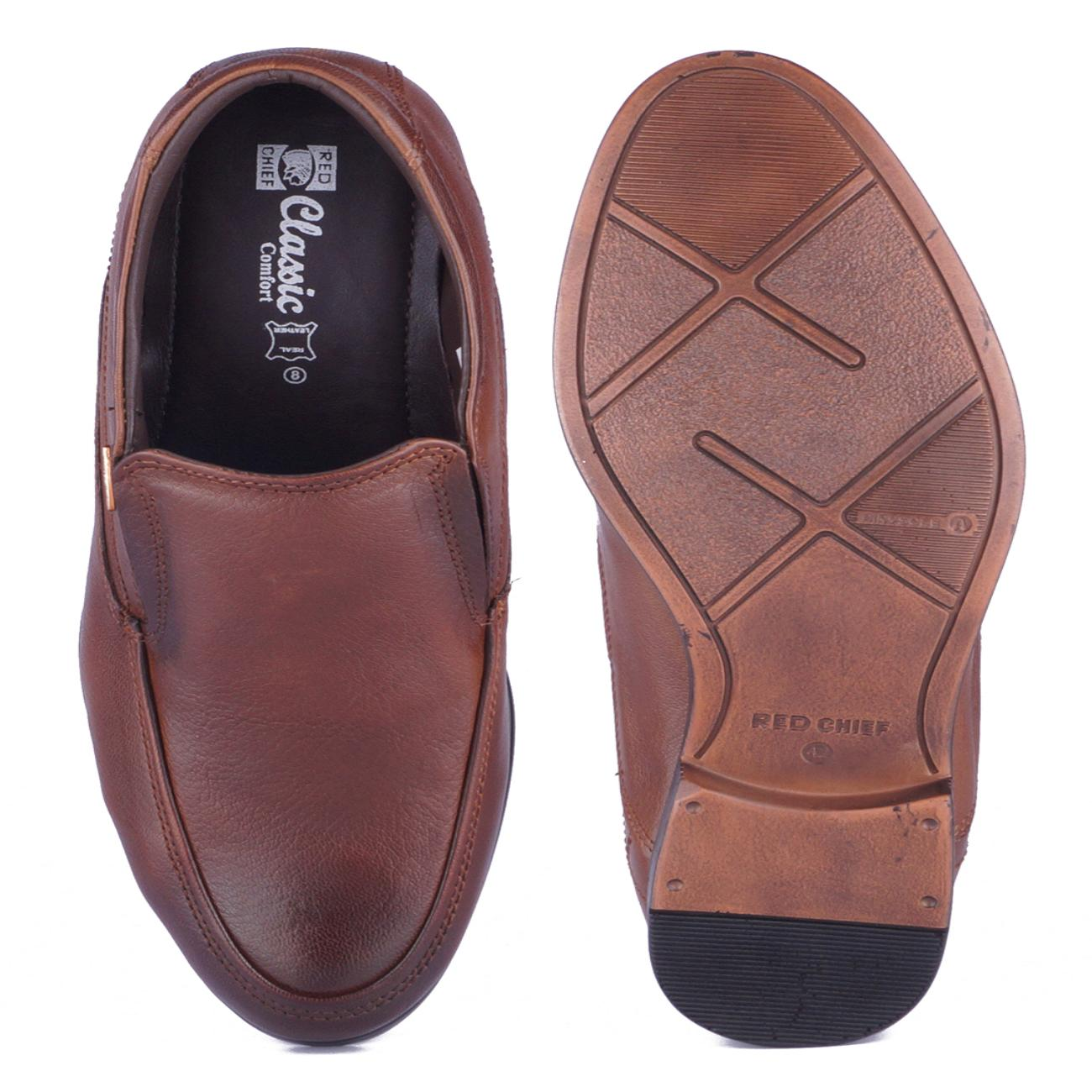 tan leather slip-on formal shoes top view