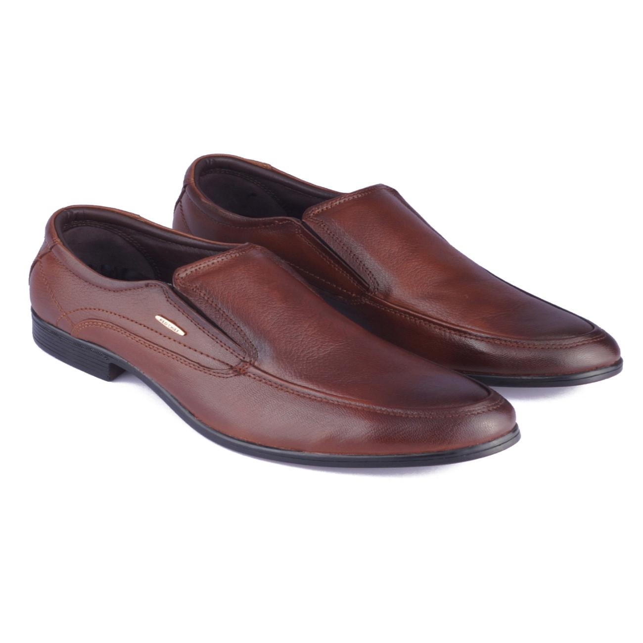 tan leather slip-on formal shoes rubber sole