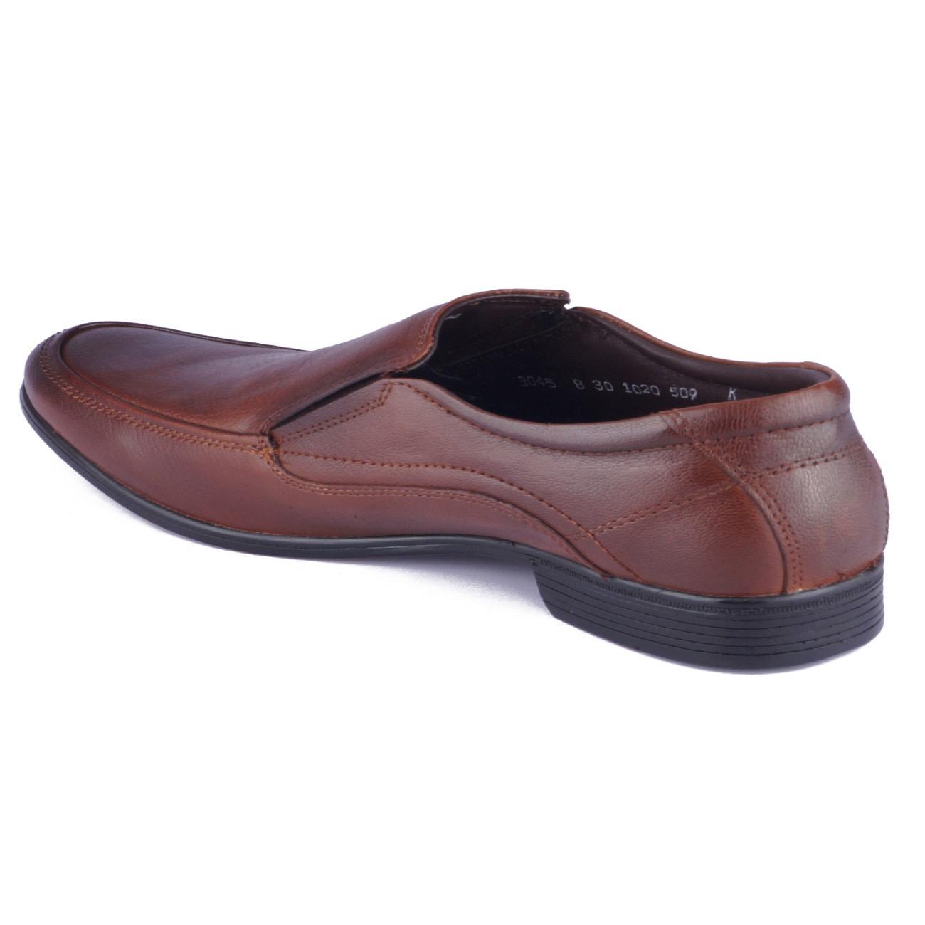 tan original leather slip-on formal shoes