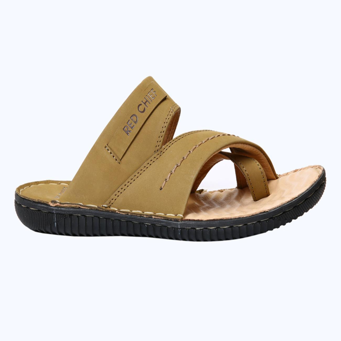 camel slip-on sandals for men