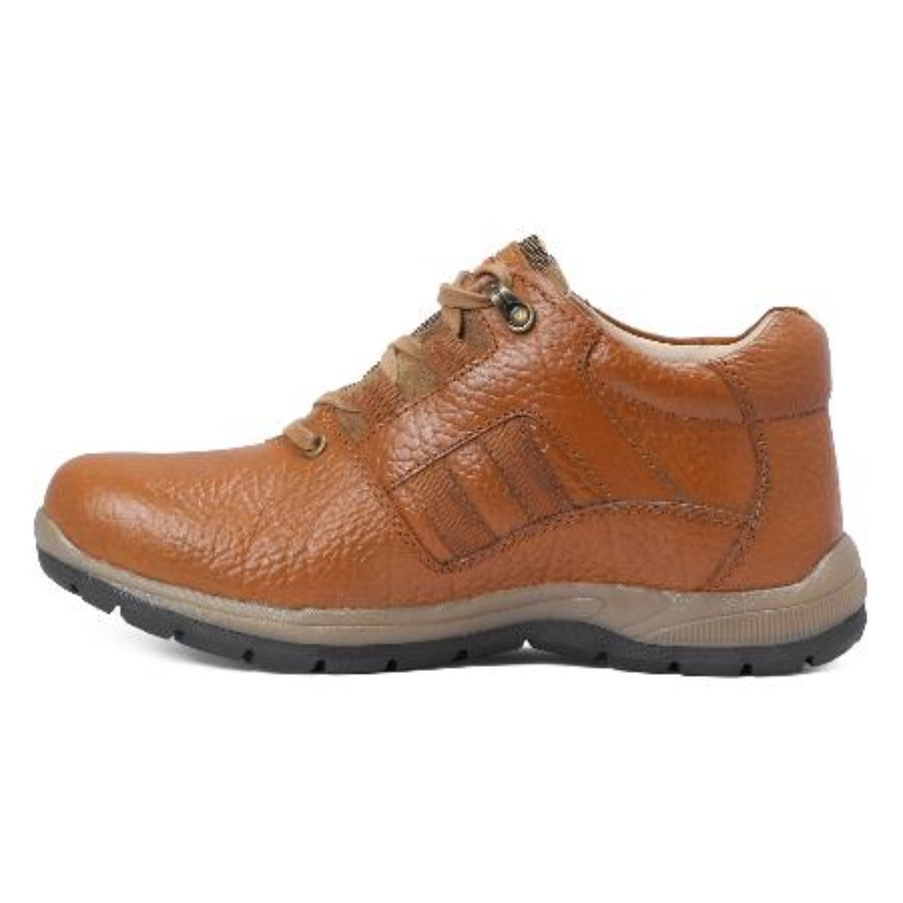 low ankle elephant tan casual leather shoes side view_2