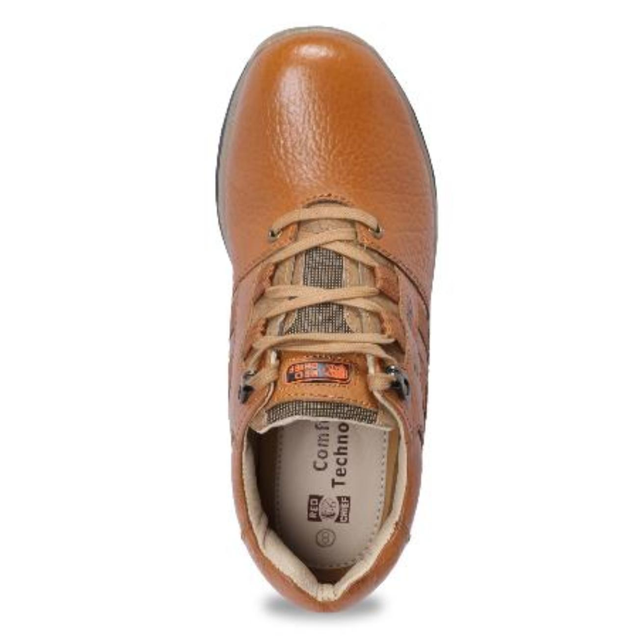 low ankle elephant tan casual leather shoes top view