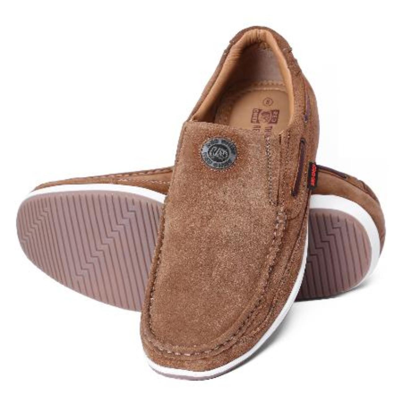 rust casual leather loafers by red chief