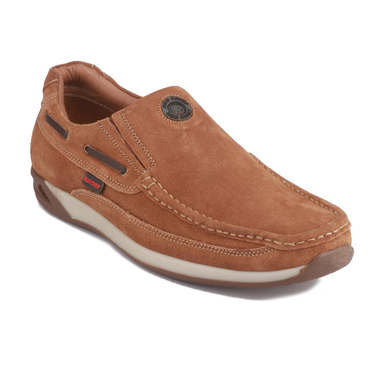 rust casual leather loafers online