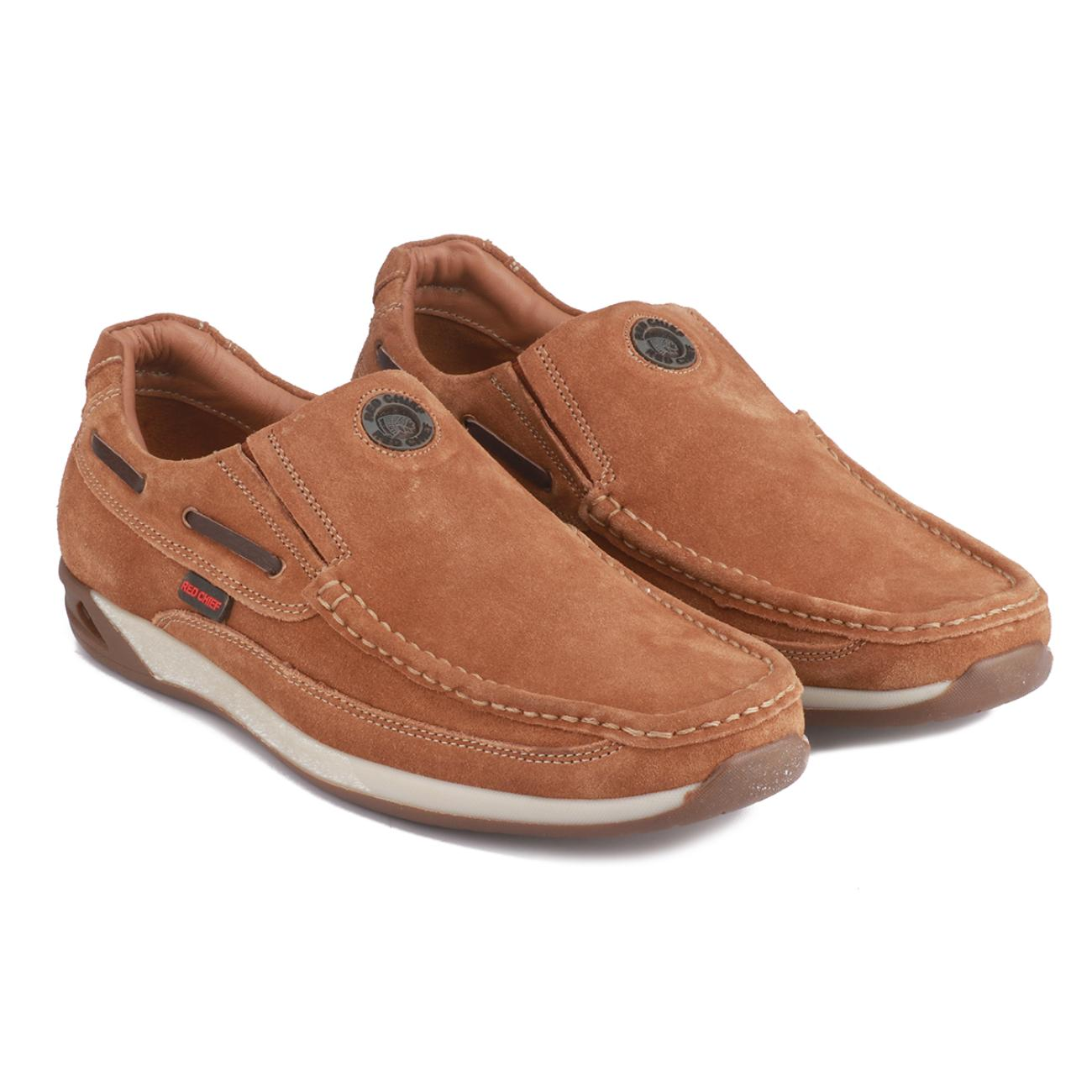 rust casual leather loafers top view