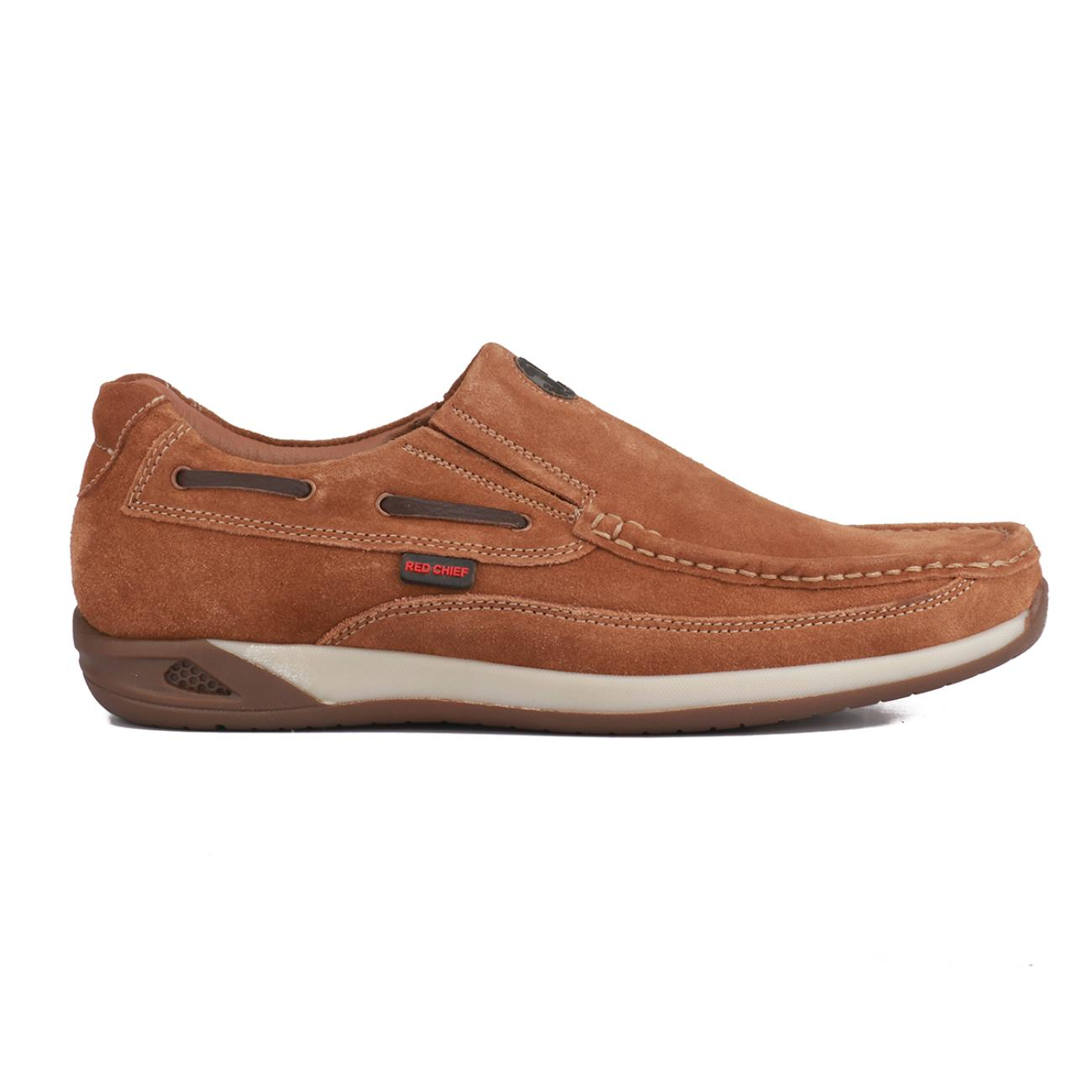 buy rust casual leather loafers side view_1