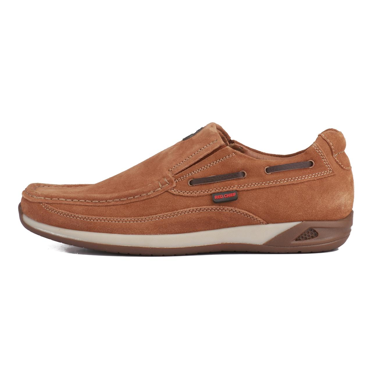rust casual leather loafers side view_2